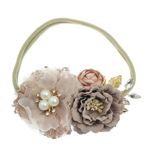 Kryssi Kouture Soft Blush Pearl Floral Nylon Headband