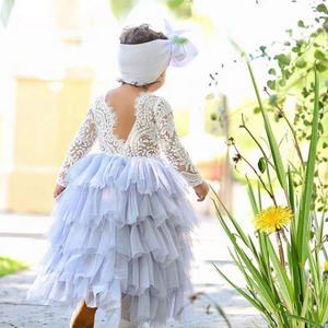 Kryssi Kouture Veronica Soft White Eyelash Long Sleeve Lace with a Parisian Blue Long Tutu Skirt - Princess Dress