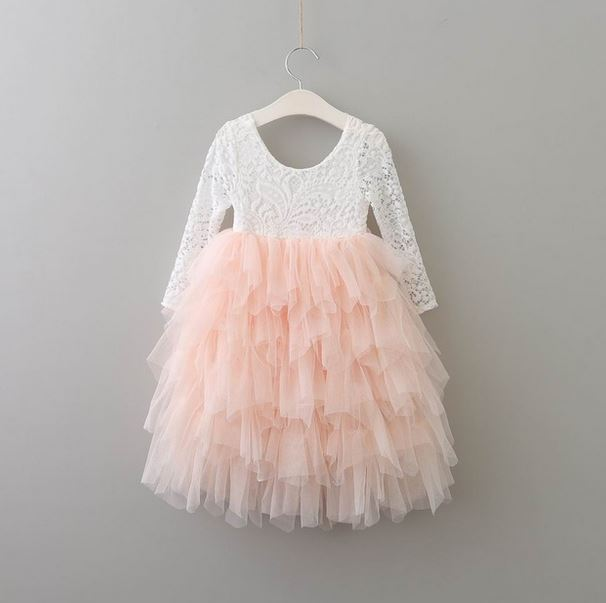 Kryssi Kouture White Eyelash Lace Long Sleeve with a Blush Tulle Skirt Flower Girl and Birthday Dress