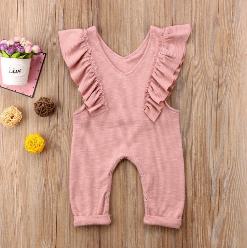 Rachel Rouge Dusty Rose Ruffle Fall Jumpsuit