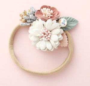 Girls Ivory & Blush Floral Nylon Headband