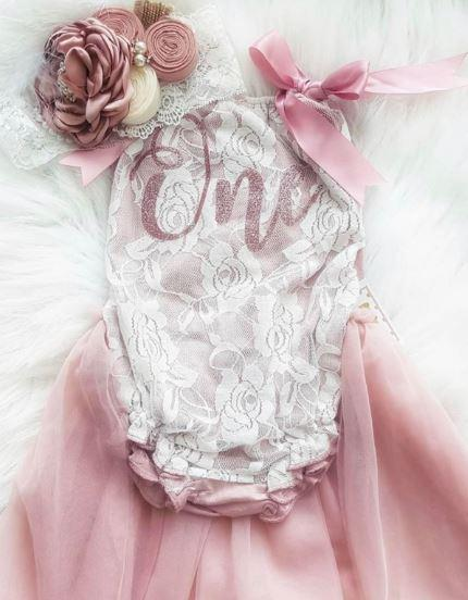 BEST SELLER  - Kryssi Kouture Exclusive Birthday Vintage Rose & Lace Tutu Romper