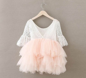 Kryssi Kouture Veronica Soft White Eyelash quarter Sleeve Lace with a Peach Short Tutu Skirt