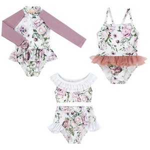 Kryssi Kouture White & Dusty Rose Floral Izmal Swim Print