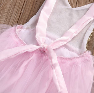 Kids Birthday Outfit Romper with TUTU Pink & Gold