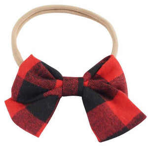 Girls Baby Red & Black Checkered Buffalo Print Bow Headband