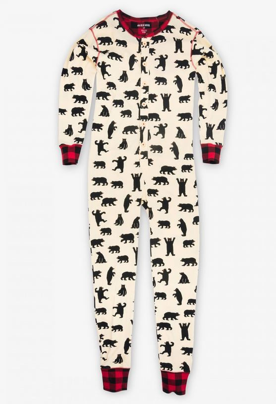 black bear and buffalo plaid family matching onesies longjohns union suits by hatley family matching