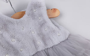 Girls Winter Vest Dress with Faux Fur Tutu Skirt and Vintage Pearls