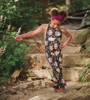 Black Floral Knotted Jumpsuit