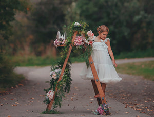 White Ruffle Spin Flower Girl Dress