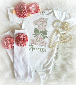 Primrose Floral 1st Birthday Custom Name Onesie