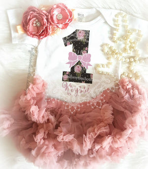 Girls First Birthday ONE Vintage Dusty Rose Boho Floral Shirt