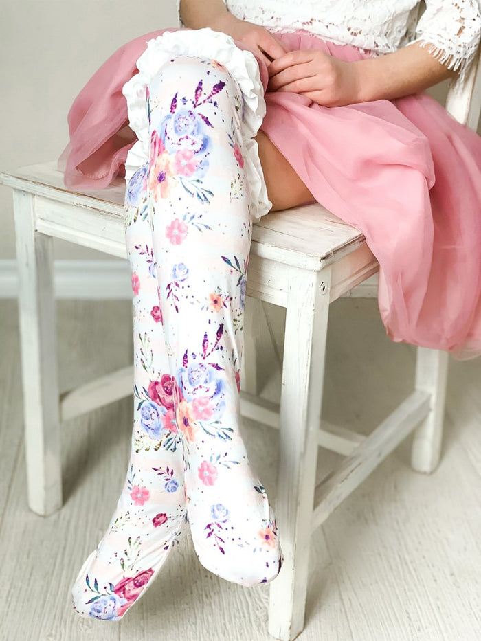 Girls Ruffle Knee High Socks / White Floral