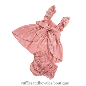 Kryssi Kouture Dusty Rose Lace Swing Dress Sale - Lace Baby Dress - Baby Lace Dress- Limited Edition Romper - Ruffles & Bowties Bowtique - 6