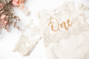 Kryssi Kouture Girls Anna Champagne & Gold Lace First Birthday Romper Set