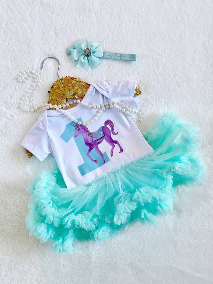 Unicorn ONE Tutu Dress Purple 2pc Set