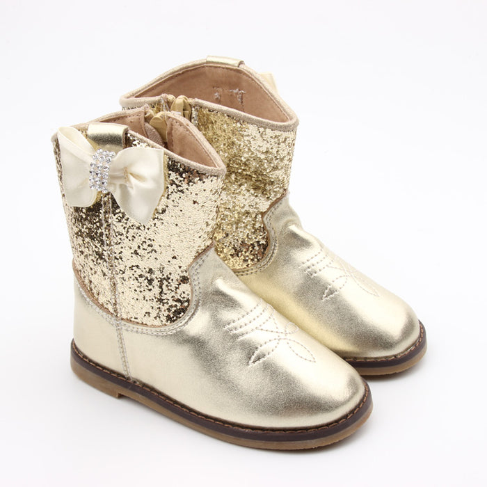 Kryssi Kouture Exclusive Gold Glitter Cowgirl Boot