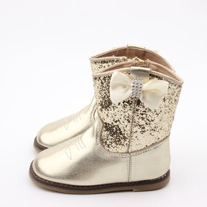 Kryssi Kouture Exclusive Gold Glitter toddler Girl Cowboy Boots