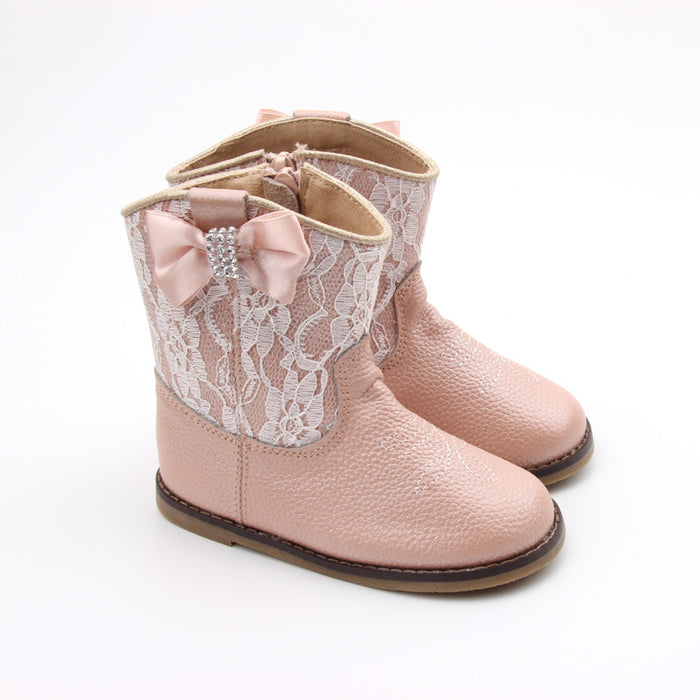 Kryssi Kouture Exclusive Dusty Pink Lace Leather Cowgirl Boot