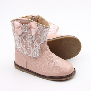 Kryssi Kouture Exclusive Dusty Rose Lace Leather Cowgirl Boots