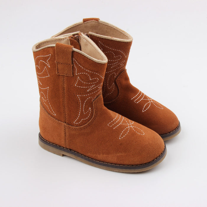 Kryssi Kouture Exclusive Tan Suede Leather Cowboy Boot