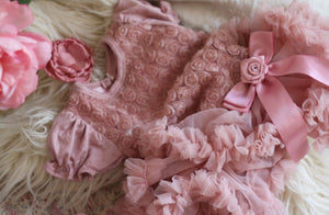 Rosie Dusty Pink Roset Ruffle Puff Sleeve Dress