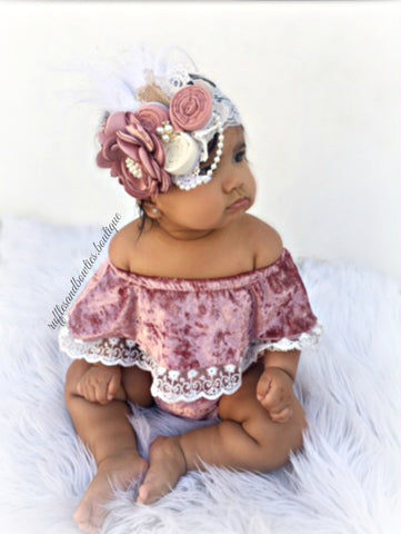 "Kryssi Kouture Exclusive ""Isn't She Lovely"" Baby Girls Dusty Rose Velvet and Lace Off the Shoulder Bodysuit Romper"