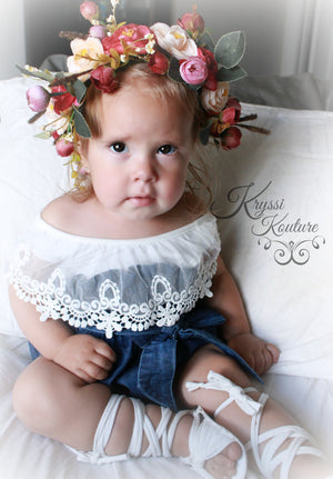 Deep Red Floral Head Wreath, Baby Halo, Flowergirl, Gloral Head Crown, Wedding, Christening, Baby Floral Crown, Baby, Ladies - Ruffles & Bowties Bowtique - 2