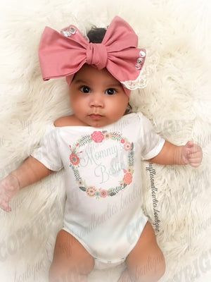 Vintage Peach & Aqua Floral Wreath Mommy's Bestie Onesie/Shirt