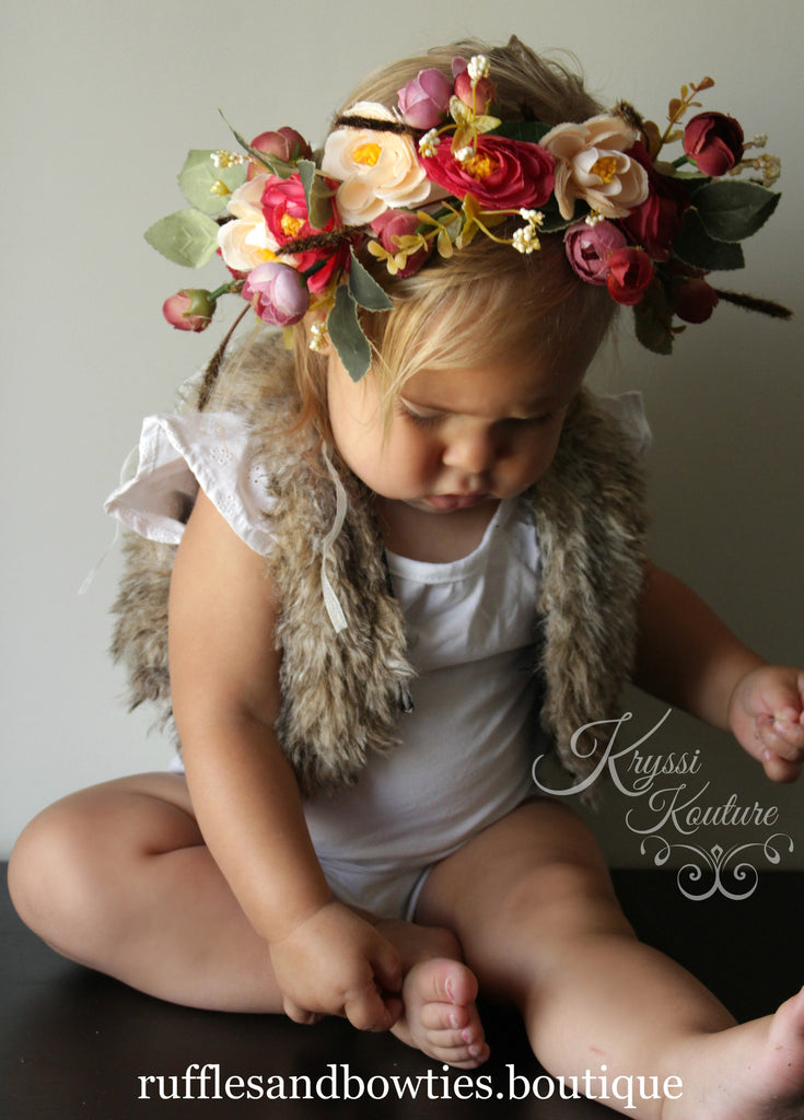 Deep Red Floral Head Wreath, Baby Halo, Flowergirl, Gloral Head Crown, Wedding, Christening, Baby Floral Crown, Baby, Ladies - Ruffles & Bowties Bowtique - 1