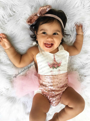 Baby Girls Rose Gold Princess Vintage Unicorn First Birthday Tutu Romper - Exclusive Kryssi Kouture