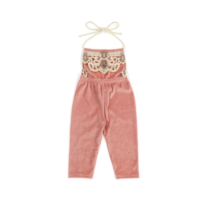 Kryssi Kouture Girls Blush Velvet Pant Romper