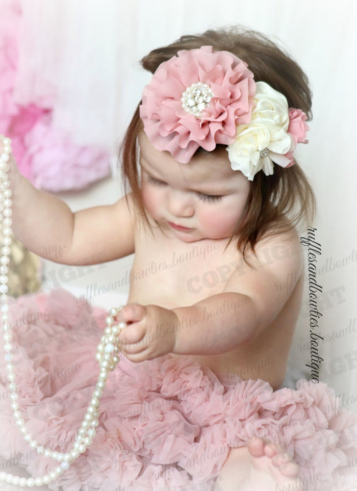 ***CUSTOMER FAVORITE*** Kryssi Kouture Dusty Rose Tutu/Pettiskirt With Built In Diaper Cover