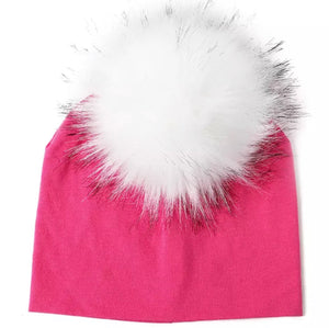 Toddler Faux Fur Pom Beanie Fuschia/White