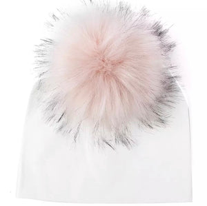 Toddler Faux Fur Pom Beanie White/Blush