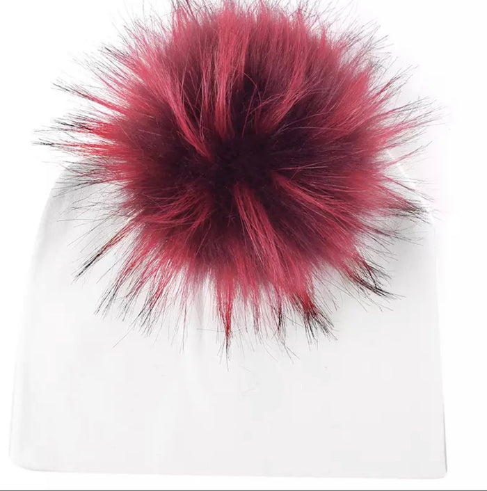 Toddler Faux Fur Pom Beanie White/Cerise