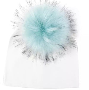Newborn & Toddler Faux Fur Pom Beanie White/Teal