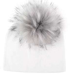Toddler Faux Fur Pom Beanie White/Grey