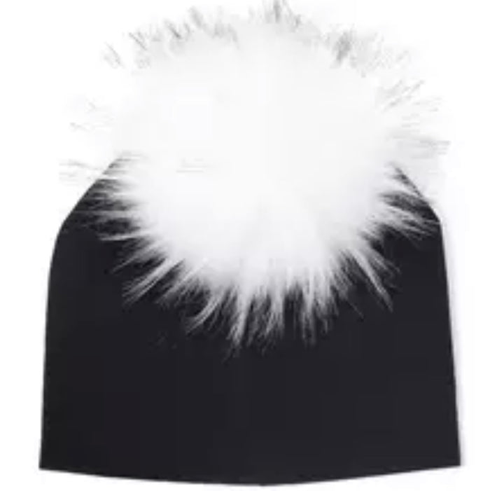 Toddler Faux Fur Pom Beanie Black/White
