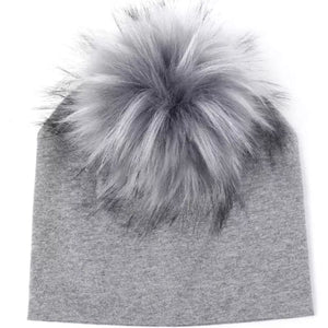 Toddler Faux Fur Pom Beanie Grey/Grey