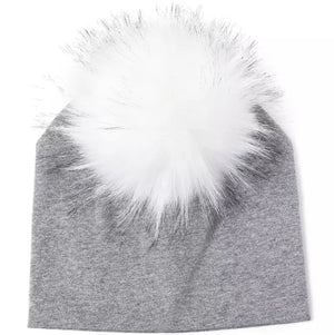 Toddler Faux Fur Pom Beanie Grey/White