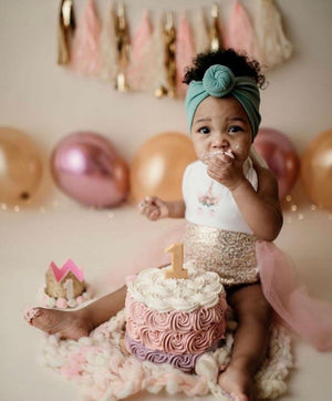 Baby Girls Rose Gold Princess Vintage Unicorn First Birthday Tutu Romper