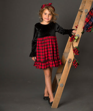 Kryssi Kouture Buffalo Plaid Velvet Low Back Dress