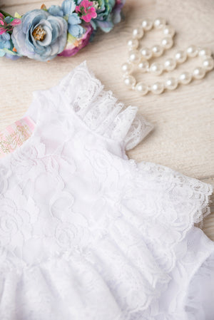 Kryssi Kouture Exclusive Girls Sweetest Paris White Lace Frill Romper