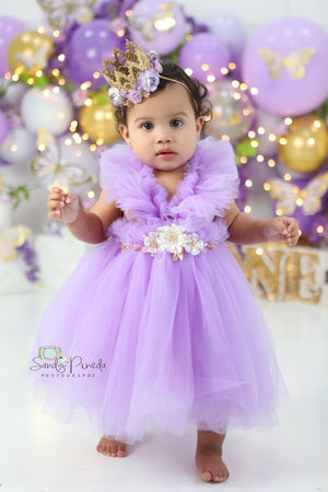 Kryssi Kouture Girls Ruffled Tulle Purple Swan Dress