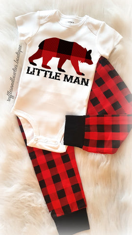 ***CUSTOMER FAVORITE*** Baby Boy Little Man Buffalo Print Plaid Bear Christmas Onesie Creeper Body Suit - Babys First Christmas Shirt - Baby Boy Shower Gift - Comming Home Shirt - Winter Buffalo Plaid