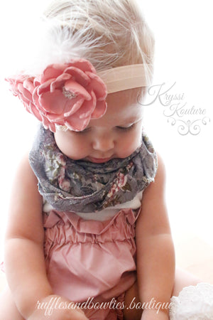 Dusty Rose Flower with Feather & Lace Headband - Ruffles & Bowties Bowtique - 2