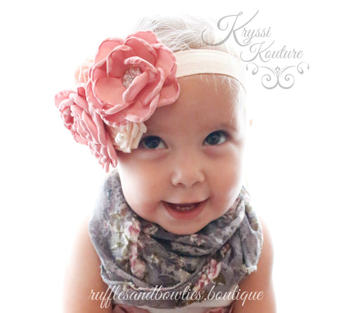 Dusty Rose Flower with Feather & Lace Headband - Vintage Headband - Baby Vintage Headband - Vintage Flowers - Flower Girl Headband