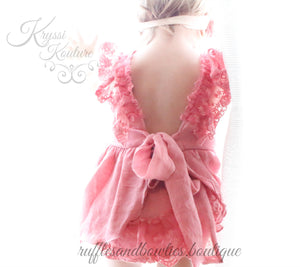 Kryssi Kouture Dusty Rose Lace Swing Dress Sale - Lace Baby Dress - Baby Lace Dress- Limited Edition Romper - Ruffles & Bowties Bowtique - 2