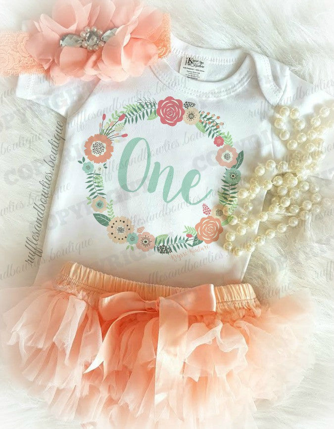 ***CUSTOMER FAVORITE*** Baby Girl Peach & Aqua Floral Wreath Boho First Birthday Shirt - Complete Outfits Available
